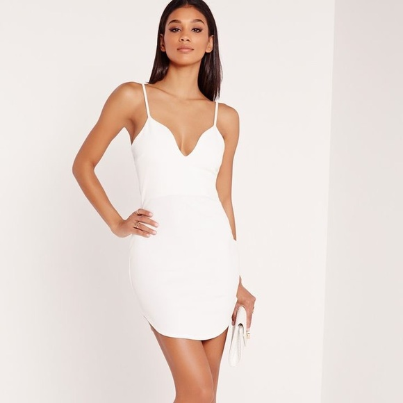 75acd681ad NWOT strappy plunge bodycon dress white. M 5ab393d8fcdc31cb2415b704